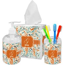 Orange & Blue Leafy Swirls Bathroom Accessories Set (Personalized)