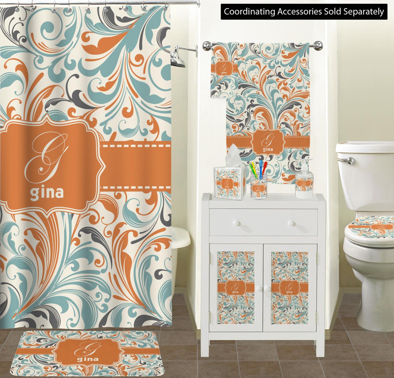 Blue Leafy Swirls Full Print Bath Towel