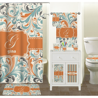 Orange blue leafy swirls hand towel full print for Blue and orange bathroom