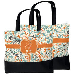 Orange & Blue Leafy Swirls Beach Tote Bag (Personalized)
