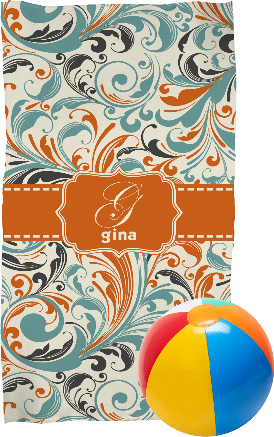 orange blue leafy swirls beach towel personalized. Black Bedroom Furniture Sets. Home Design Ideas