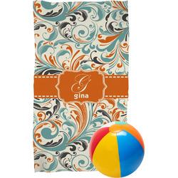 Orange & Blue Leafy Swirls Beach Towel (Personalized)