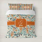 Orange & Blue Leafy Swirls Duvet Covers (Personalized)