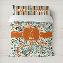 Orange & Blue Leafy Swirls Duvet Covers (Personalized)