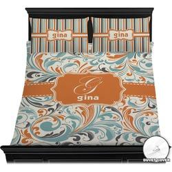 Orange & Blue Leafy Swirls Duvet Cover Set (Personalized)