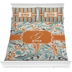 Orange & Blue Leafy Swirls Comforters (Personalized)