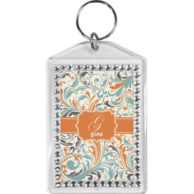 Orange & Blue Leafy Swirls Bling Keychain (Personalized)