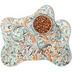 Orange & Blue Leafy Swirls Bone Shaped Dog Food Mat (Personalized)