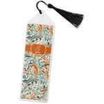 Orange & Blue Leafy Swirls Book Mark w/Tassel (Personalized)