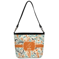 Orange & Blue Leafy Swirls Bucket Bag w/ Genuine Leather Trim (Personalized)