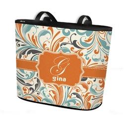 Orange & Blue Leafy Swirls Bucket Tote w/ Genuine Leather Trim (Personalized)