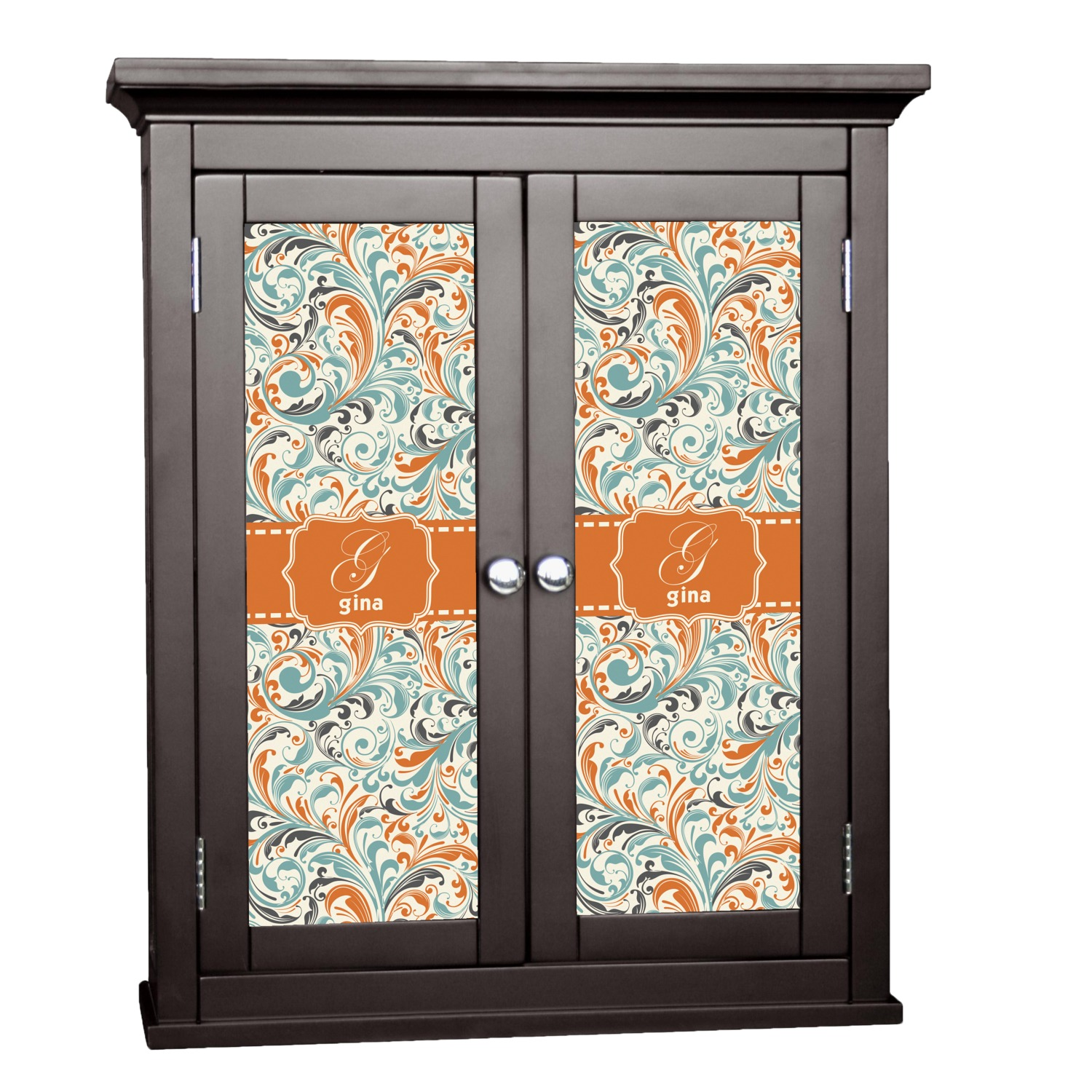 Orange blue leafy swirls cabinet decal medium for Kitchen cabinets lowes with how to make decal stickers