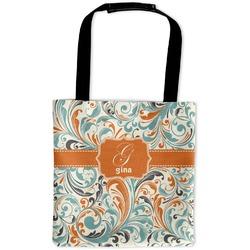 Orange & Blue Leafy Swirls Auto Back Seat Organizer Bag (Personalized)