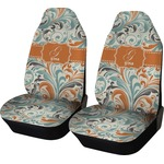 Orange & Blue Leafy Swirls Car Seat Covers (Set of Two) (Personalized)