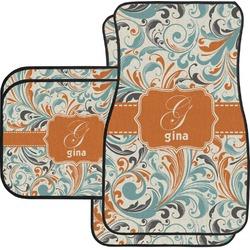 Orange & Blue Leafy Swirls Car Floor Mats Set - 2 Front & 2 Back (Personalized)