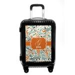 Orange & Blue Leafy Swirls Carry On Hard Shell Suitcase (Personalized)