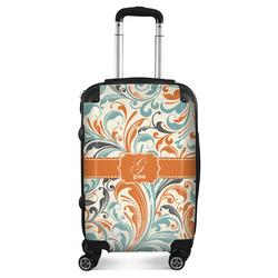 Orange & Blue Leafy Swirls Suitcase (Personalized)