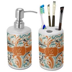 Orange & Blue Leafy Swirls Ceramic Bathroom Accessories Set (Personalized)