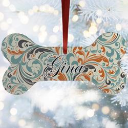 Orange & Blue Leafy Swirls Ceramic Dog Ornaments w/ Name and Initial