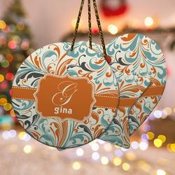 Orange & Blue Leafy Swirls Ceramic Ornament w/ Name and Initial