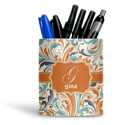 Orange & Blue Leafy Swirls Ceramic Pen Holder