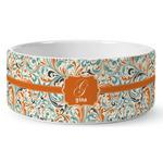 Orange & Blue Leafy Swirls Ceramic Dog Bowl (Personalized)