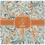 Orange & Blue Leafy Swirls Ceramic Tile Hot Pad (Personalized)
