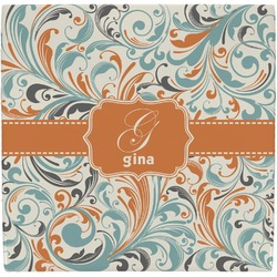 Orange & Blue Leafy Swirls Ceramic Tile Hot Pad (Personalized)