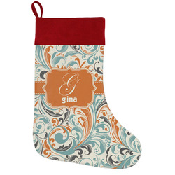 Orange & Blue Leafy Swirls Holiday Stocking w/ Name and Initial