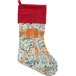 Orange & Blue Leafy Swirls Christmas Stocking (Personalized)