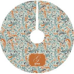 Orange & Blue Leafy Swirls Tree Skirt (Personalized)