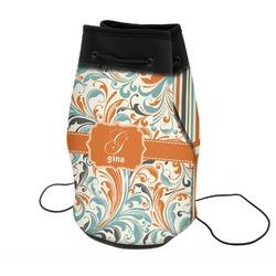 Orange & Blue Leafy Swirls Neoprene Drawstring Backpack (Personalized)