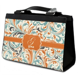 Orange & Blue Leafy Swirls Classic Tote Purse w/ Leather Trim (Personalized)