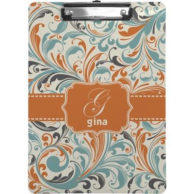 Orange & Blue Leafy Swirls Clipboard (Personalized)