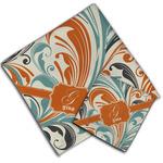 Orange & Blue Leafy Swirls Cloth Napkin w/ Name and Initial