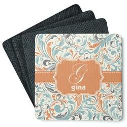 Orange & Blue Leafy Swirls 4 Square Coasters - Rubber Backed (Personalized)