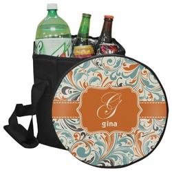 Orange & Blue Leafy Swirls Collapsible Cooler & Seat (Personalized)