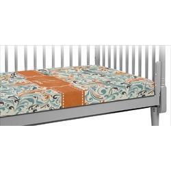 Orange & Blue Leafy Swirls Crib Fitted Sheet (Personalized)