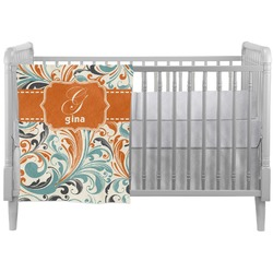 Orange & Blue Leafy Swirls Crib Comforter / Quilt (Personalized)