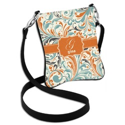 Orange & Blue Leafy Swirls Cross Body Bag - 2 Sizes (Personalized)