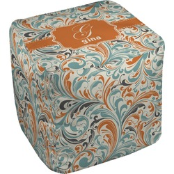 Orange & Blue Leafy Swirls Cube Pouf Ottoman (Personalized)