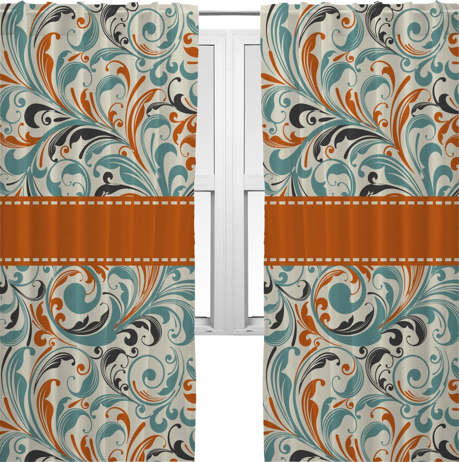 Window Treatments For Dining Rooms Orange Amp Blue Leafy Swirls Curtains 40 Quot X63 Quot Panels