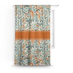 Orange & Blue Leafy Swirls Curtain (Personalized)