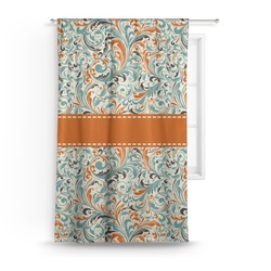 Orange & Blue Leafy Swirls Curtain (Personalized)
