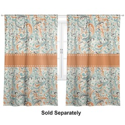 "Orange & Blue Leafy Swirls Curtains - 40""x84"" Panels - Unlined (2 Panels Per Set) (Personalized)"