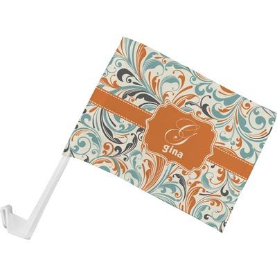 Orange & Blue Leafy Swirls Car Flag - Small w/ Name and Initial