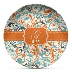 Orange & Blue Leafy Swirls Microwave Safe Plastic Plate - Composite Polymer (Personalized)