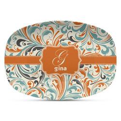 Orange & Blue Leafy Swirls Plastic Platter - Microwave & Oven Safe Composite Polymer (Personalized)