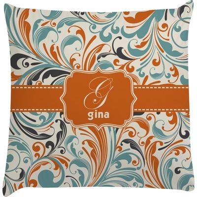 Orange & Blue Leafy Swirls Decorative Pillow Case (Personalized)
