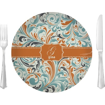 "Orange & Blue Leafy Swirls 10"" Glass Lunch / Dinner Plates - Single or Set (Personalized)"